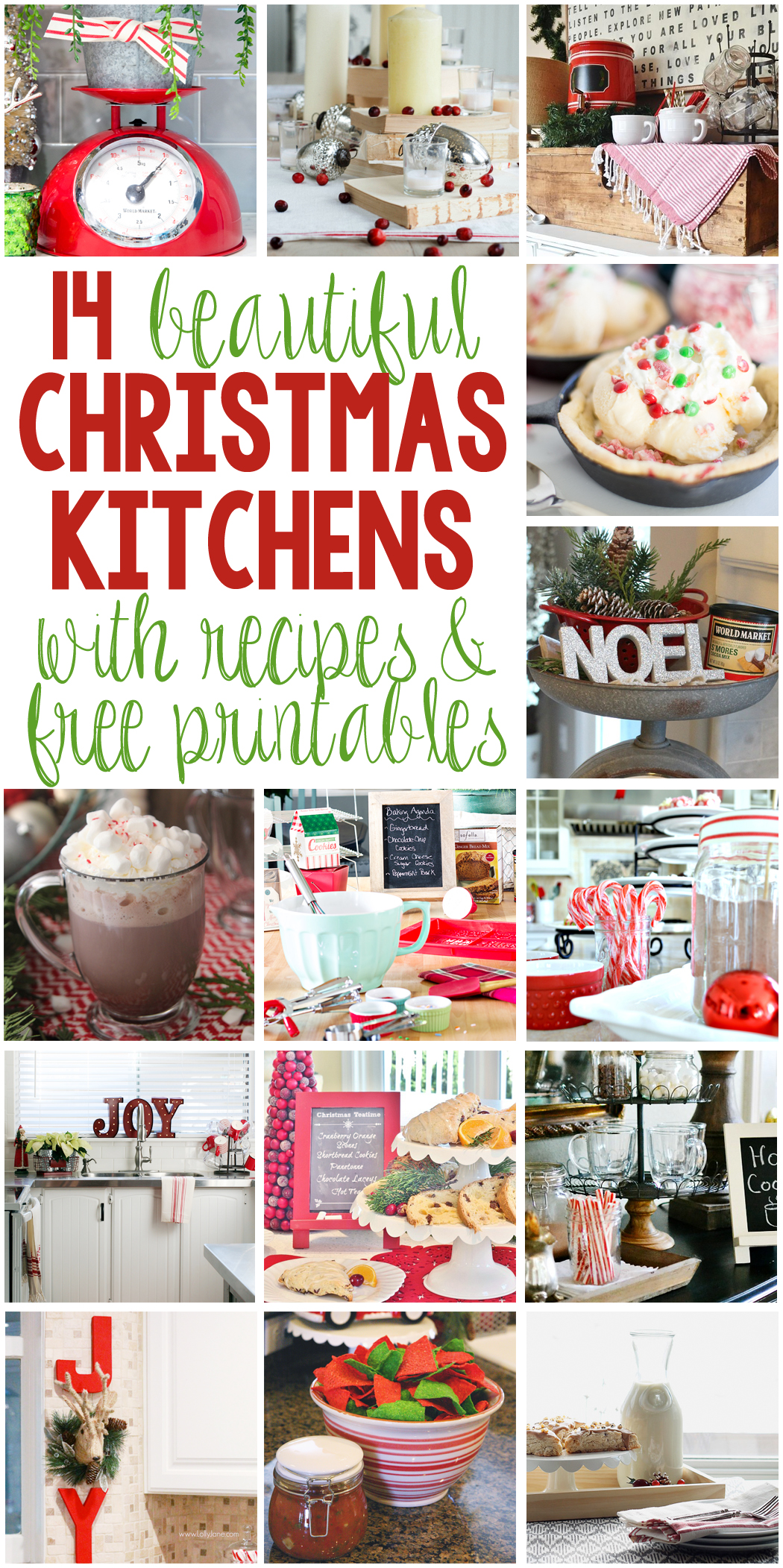 14 Beautiful Christmas Kitchens with Recipes and Free Printables - Get the details at LoveGrowsWild.com