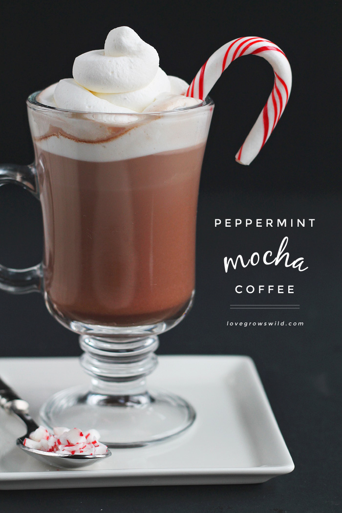 This Peppermint Mocha Coffee is the perfect holiday beverage to start your day! You will love the deliciously sweet chocolate-peppermint flavor, and it is SO simple to make! | LoveGrowsWild.com