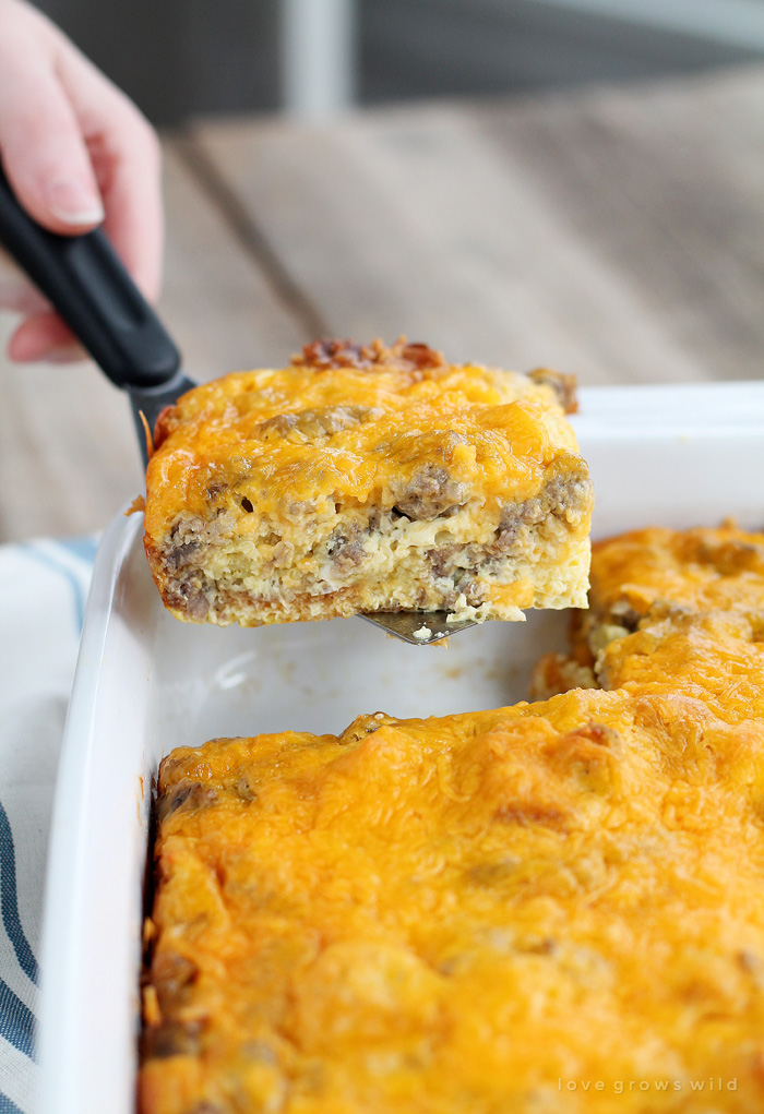 This easy overnight egg casserole is loaded with breakfast sausage and topped with tons of cheddar cheese. Chill overnight then bake in the morning for a delicious, hearty breakfast! | LoveGrowsWild.com