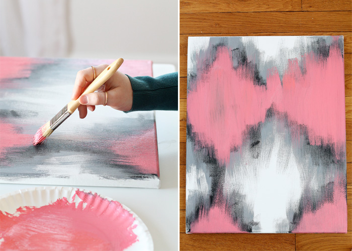 Diy painted ikat art love grows wild for How to make canvas painting
