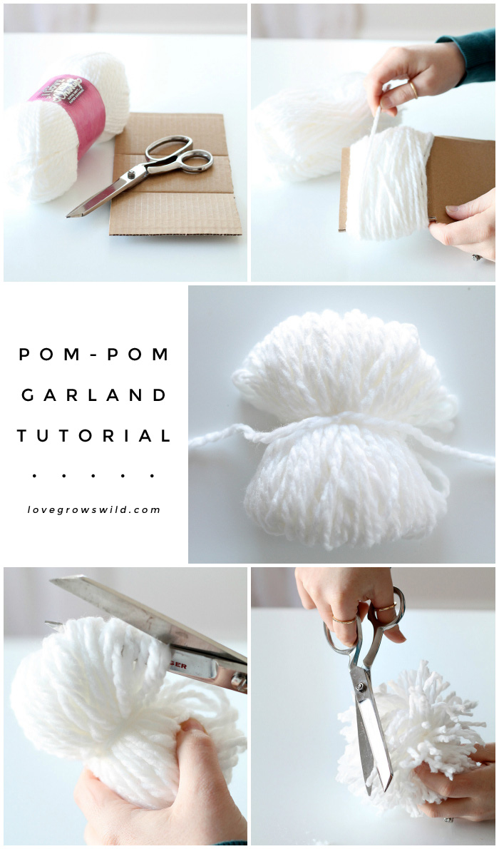 Learn how to make this super-sized Pom Pom Garland! Detailed tutorial and how-to video at LoveGrowsWild.com