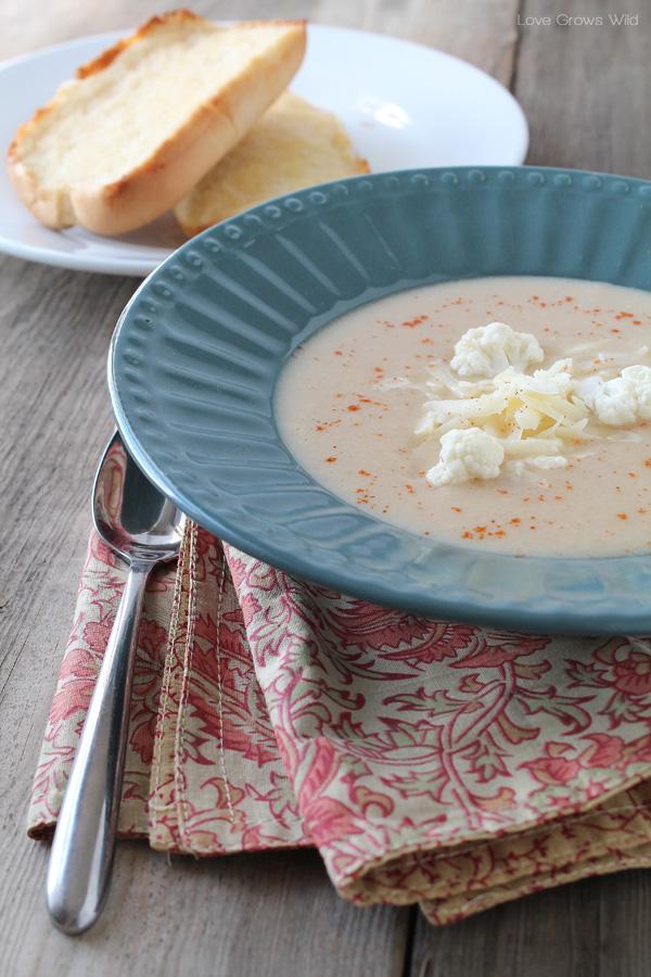Creamy Cheesy Cauliflower Soup | LoveGrowsWild.com