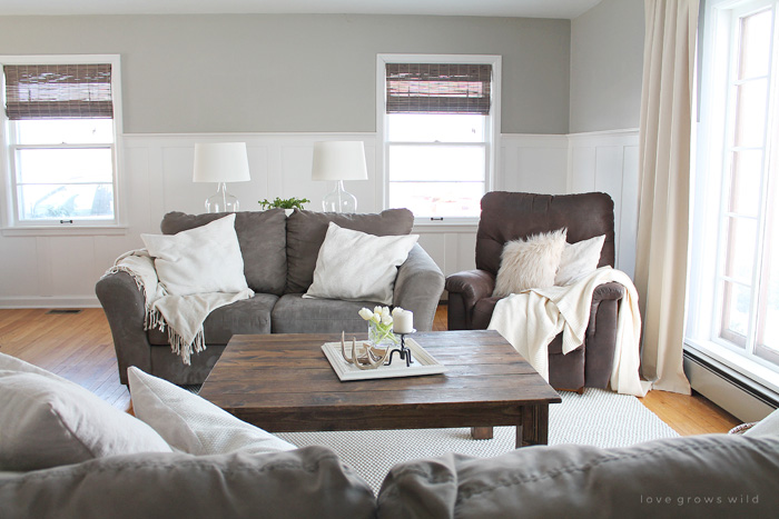 this living room is light and bright yet rustic and cozy at the same time - Farmhouse Living Room Furniture