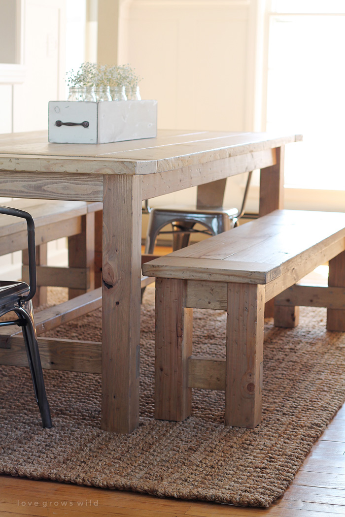 DIY Farmhouse Bench Love Grows Wild - High top dining table with bench