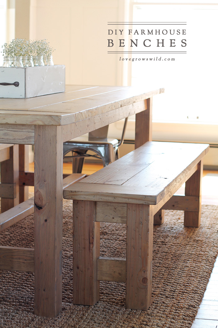 Learn how to build an easy DIY Farmhouse Bench - perfect for saving space in a & DIY Farmhouse Bench - Love Grows Wild