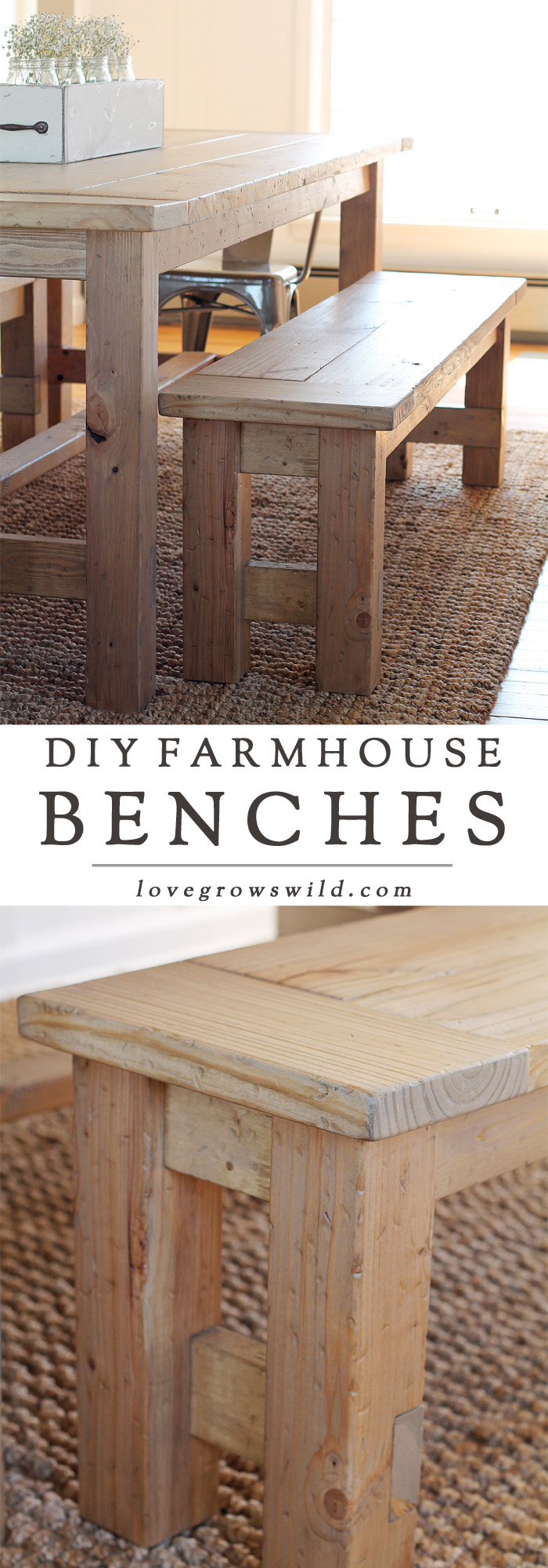 Learn How To Build An Easy DIY Farmhouse Bench   Perfect For Saving Space  In A