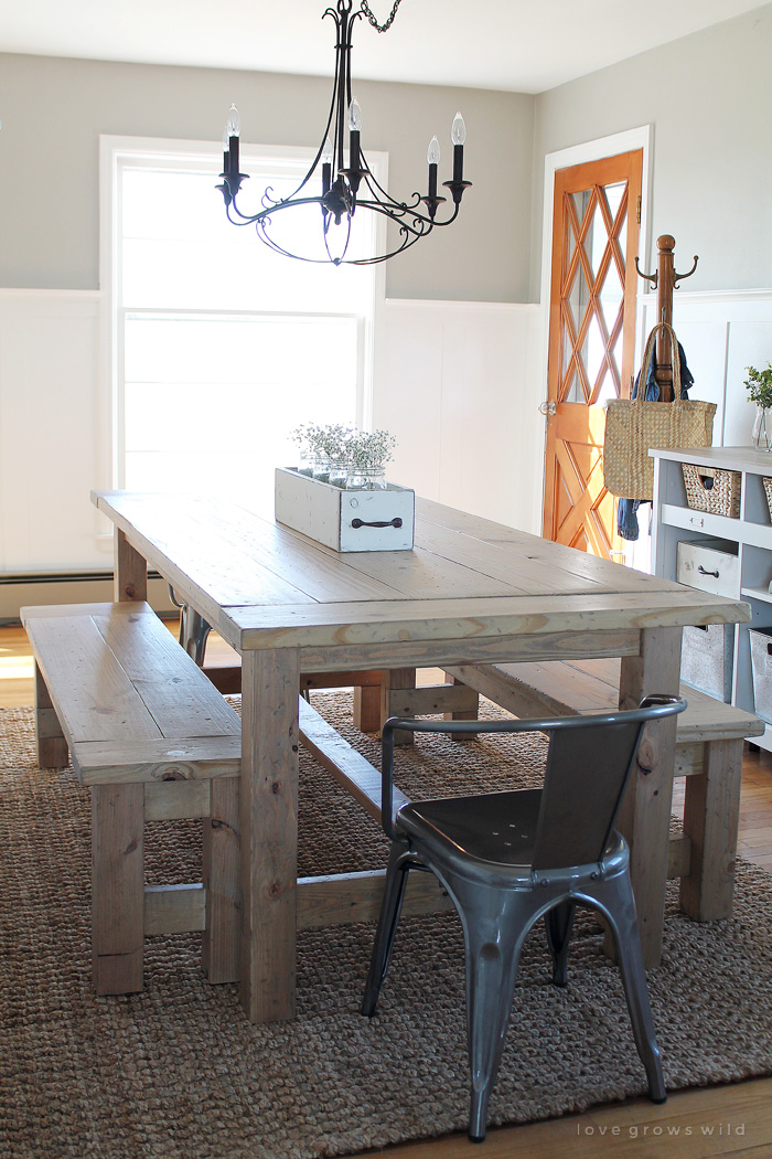 This large farmhouse table seats 8+ and adds great rustic charm to your dining room. See more photos and project details at LoveGrowsWild.com