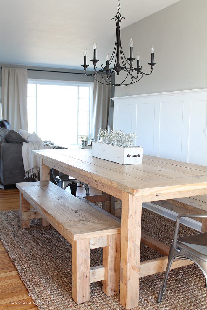DIY Farmhouse Table Love Grows Wild - Farm table with bench seating