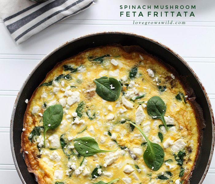 A healthy frittata is a quick and easy meal for any time of day! Try this Spinach Mushroom Feta version from LoveGrowsWild.com