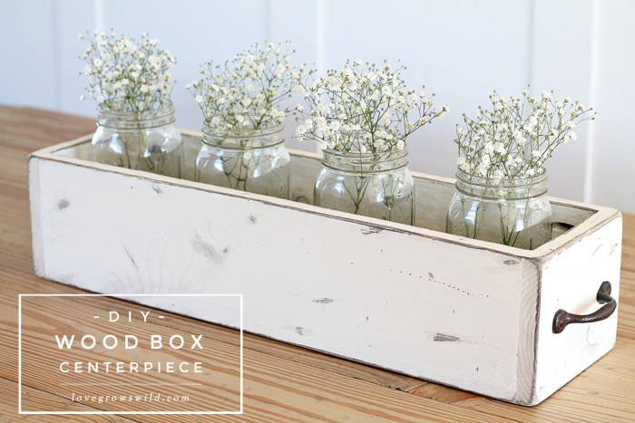 Diy wood box centerpiece love grows wild