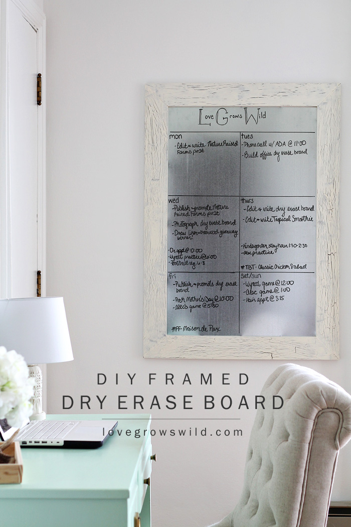 Get organized with this DIY Framed Dry Erase Board! It's simple to make and magnetic too! Get the full tutorial at LoveGrowsWild.com
