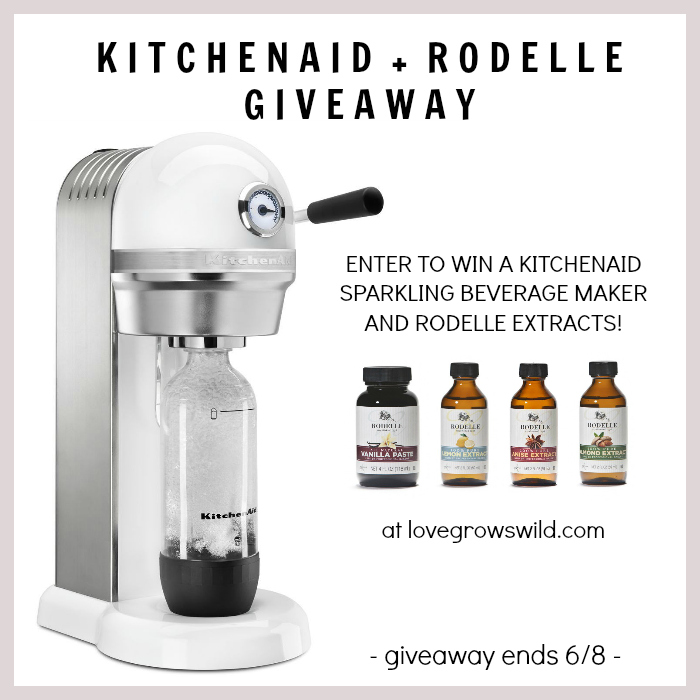 Enter to win a KitchenAid Sparkling Beverage Maker and Rodelle extracts PLUS get a recipe for Vanilla Italian Cream Sodas! at LoveGrowsWild.com