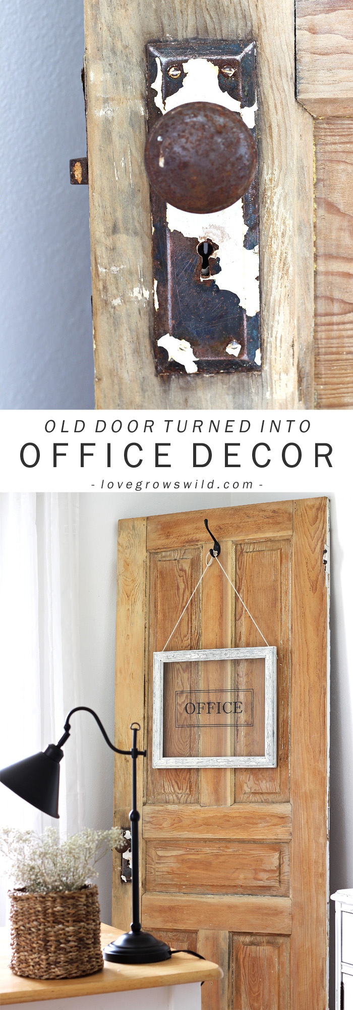 See how LoveGrowsWild.com turned a picture frame into a gorgeous hanging sign for her office