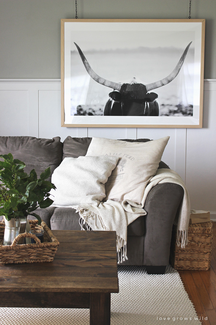 Instead of a gallery wall, try a large piece of art that makes a big impact in the room. Add interest by hanging it from the ceiling with this tutorial from LoveGrowsWild.com!