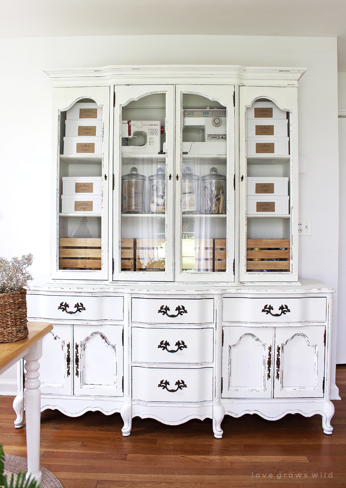 Old Hutches And China Cabinets Make Great Storage For An Office See How This Outdated