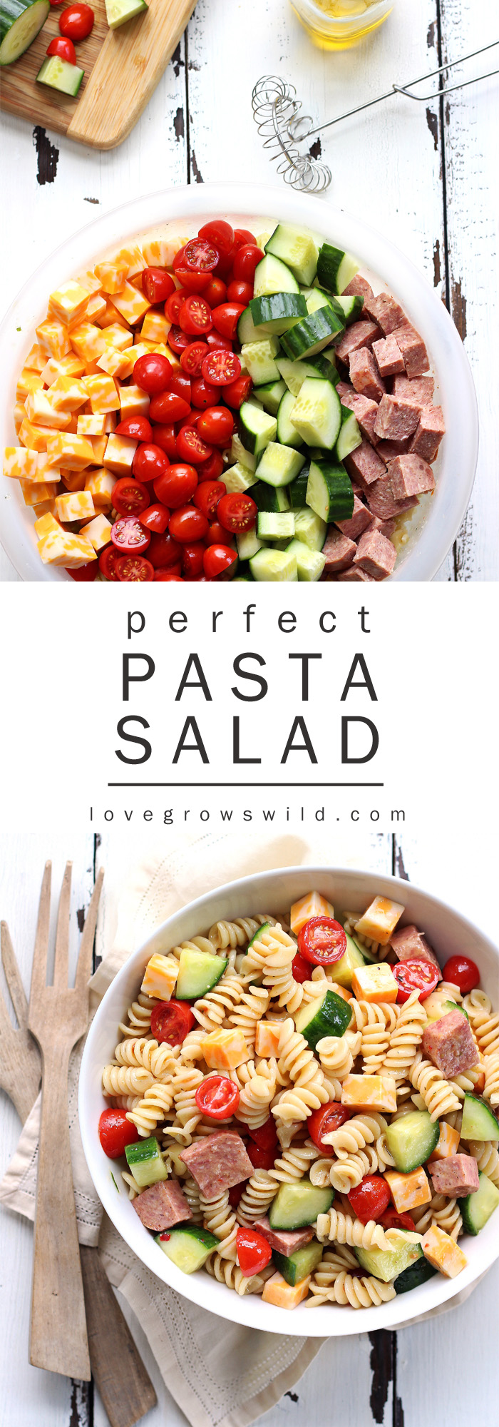 The perfect pasta salad recipe! Tender noodles tossed in a zesty Italian dressing with vegetables, meat, and cheese... great for a potluck or a light meal! | LoveGrowsWild.com