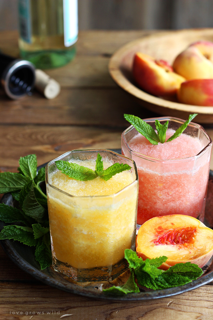 This wine slush is the perfect sip on a hot summer day!  Just blend wine and fruit together and freeze into ice cubes, then enjoy a grown-up slushie whenever the mood strikes. | LoveGrowsWild.com
