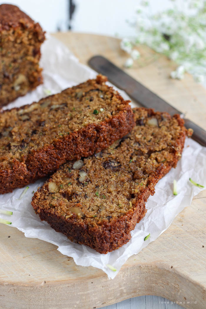 This Zucchini Bread recipe is perfection! Moist, sweet, and so delicious!   LoveGrowsWild.com
