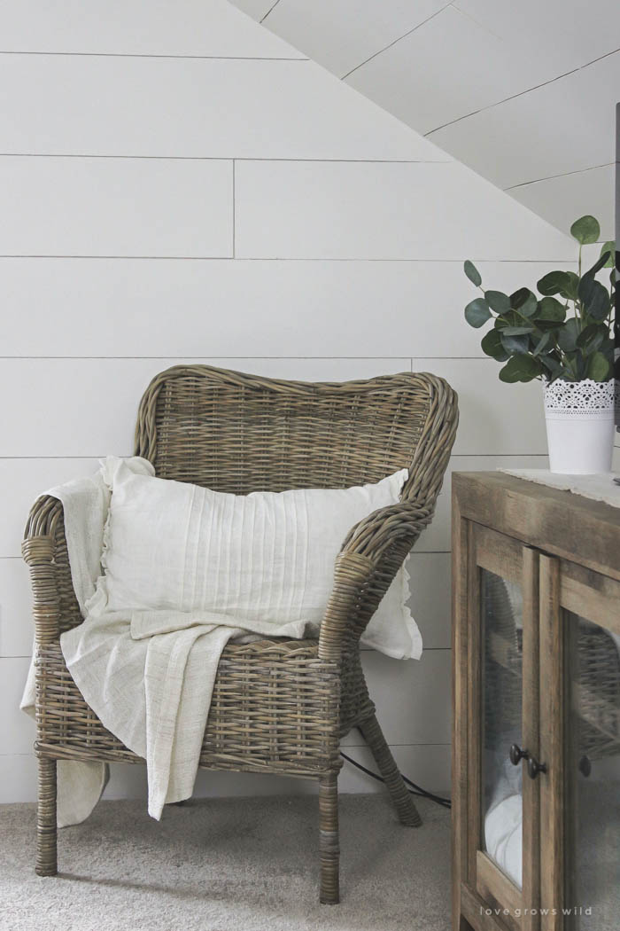 This master bedroom gets a dramatic makeover with beautiful white wide plank walls. Learn how to plank YOUR walls at LoveGrowsWild.com!