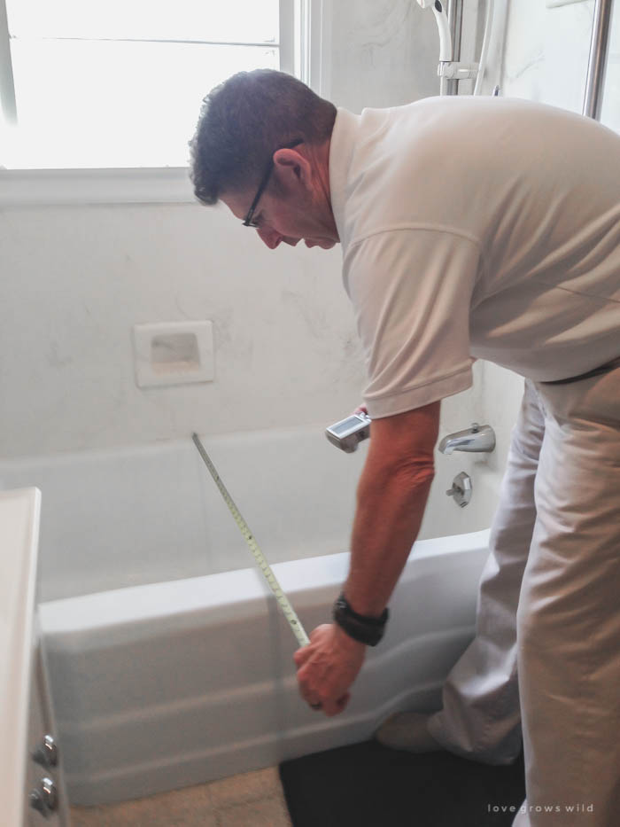 Follow along the big makeover of LoveGrowsWild.com's bathroom! In this post, Liz shares the process of planning the bathtub makeover. Click to see more!