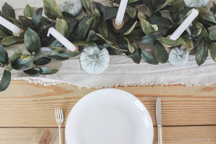 See more photos of this beautiful farmhouse dining room decorated for fall at LoveGrowsWild.com
