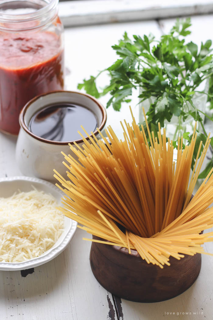 The easiest, most delicious spaghetti you've ever made! Creamy, cheesy, full of flavor, and only one dirty dish to clean! | LoveGrowsWild.com