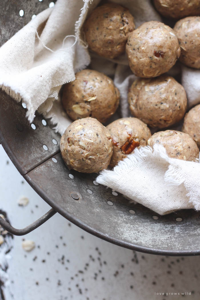 These tasty energy bites are perfect for a pre/post-workout snack or even an on-the-go breakfast! So easy to whip up, and they taste like a delicious peanut butter treat! Get the recipe at LoveGrowsWild.com