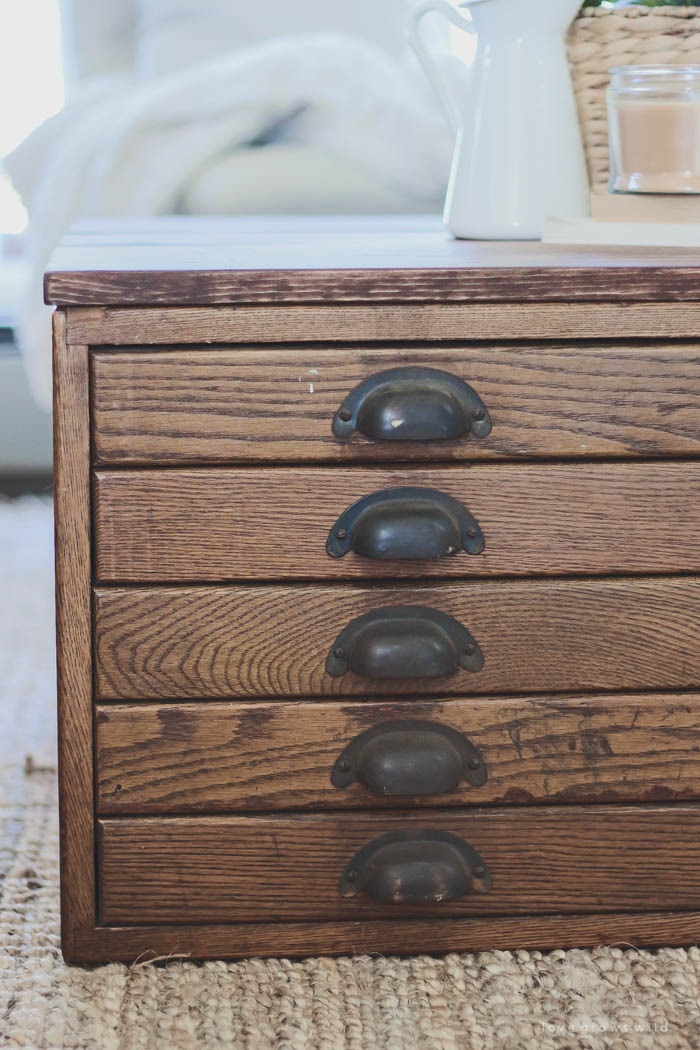 See how this antique blueprint file cabinet gets transformed into a beautiful coffee table at LoveGrowsWild.com