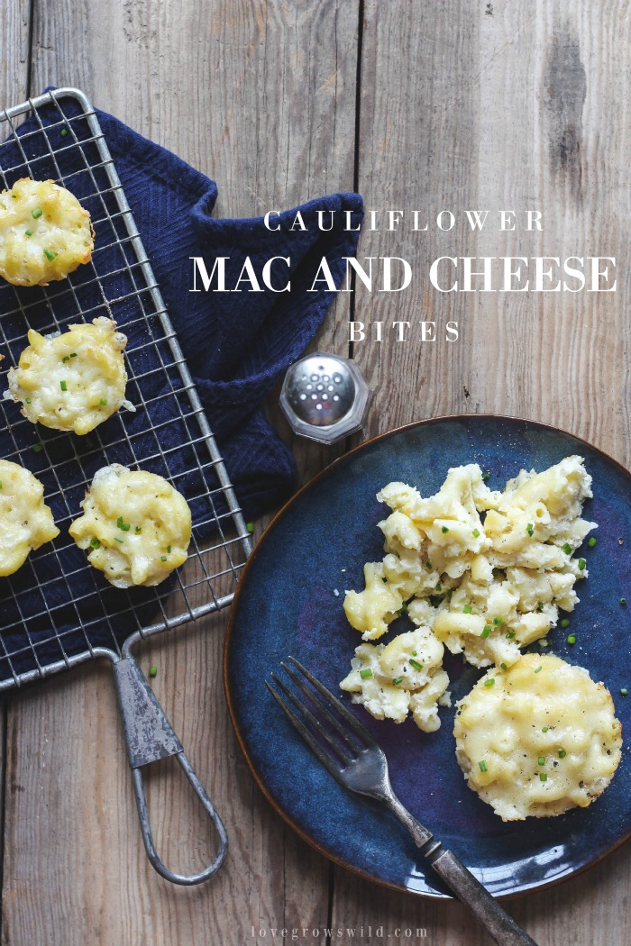 Delicious, creamy mac and cheese baked in little muffin tins for perfect individual portions! Freezes and re-heats beautifully and sneaks in a serving of veggies! Recipe at LoveGrowsWild.com