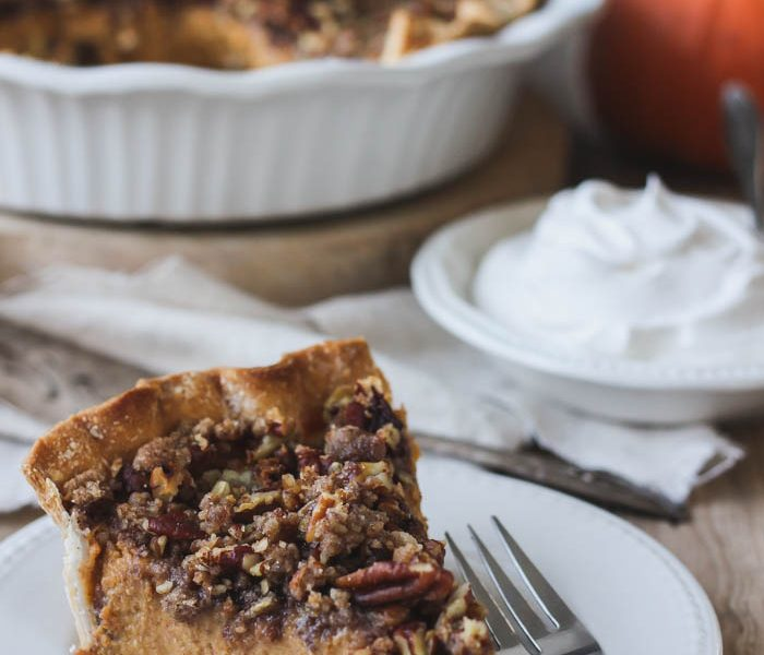The perfect pumpkin pie topped with a crunchy, sweet pecan streusel! A must-make for the holidays! | LoveGrowsWild.com