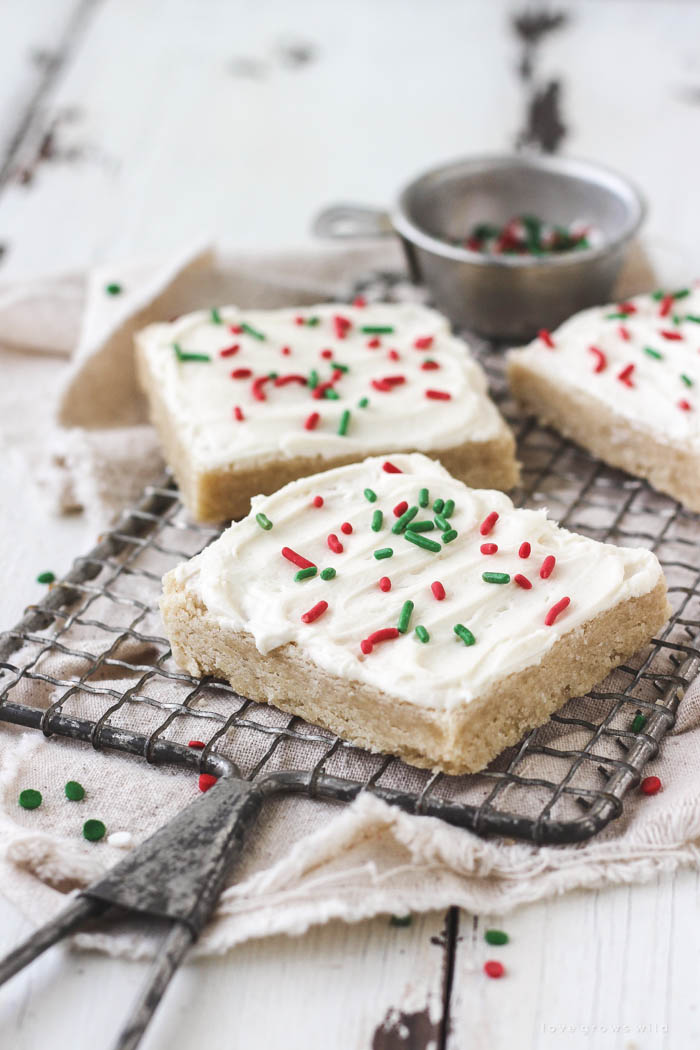 Perfectly sweet, soft and tender, easy to make Frosted Sugar Cookie Bars! | LoveGrowsWild.com