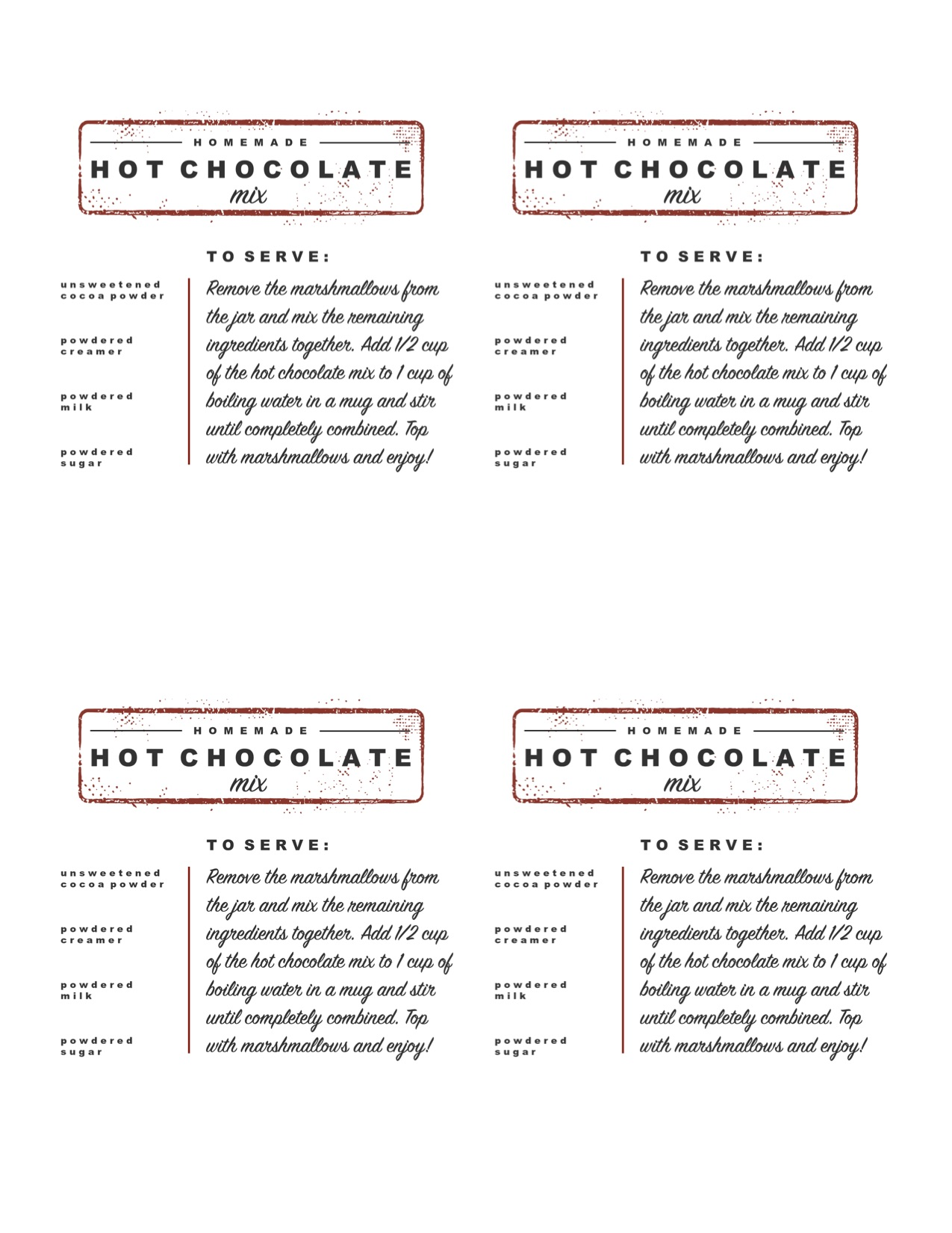 Homemade Hot Chocolate Mix Printable with Ingredients | LoveGrowsWild.com