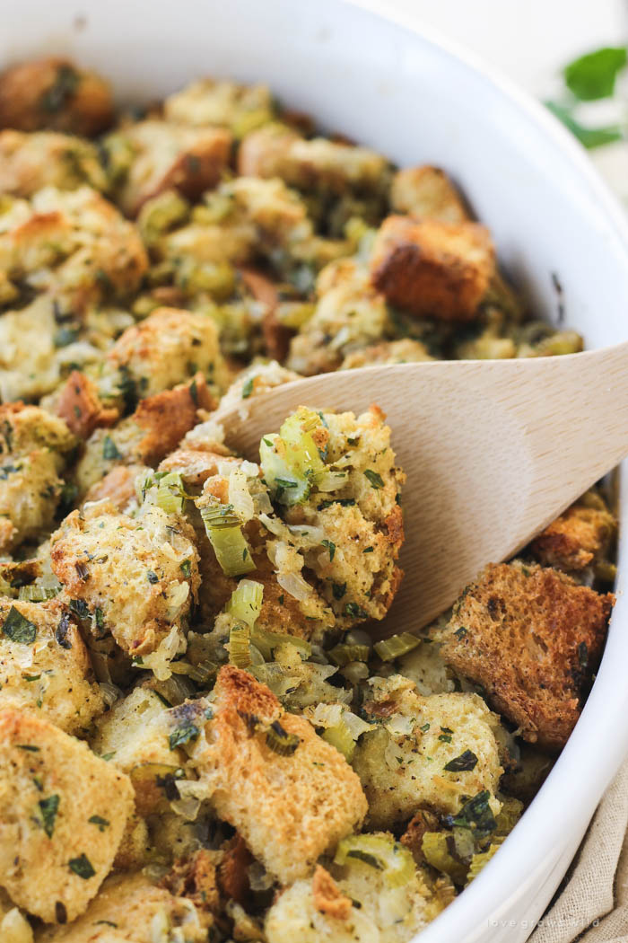 This simple stuffing recipe is a MUST for the holidays! Get the recipe at LoveGrowsWild.com