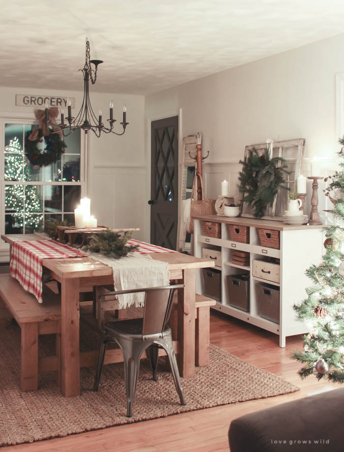 Take a nighttime tour of this Indiana farmhouse all lit up for the holidays! See more photos at LoveGrowsWild.com