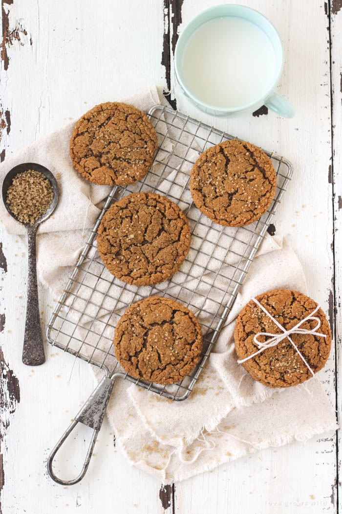 Perfectly chewy, soft and sweet Molasses Cookies! Easy to bake and SO good! Get the recipe at LoveGrowsWild.com