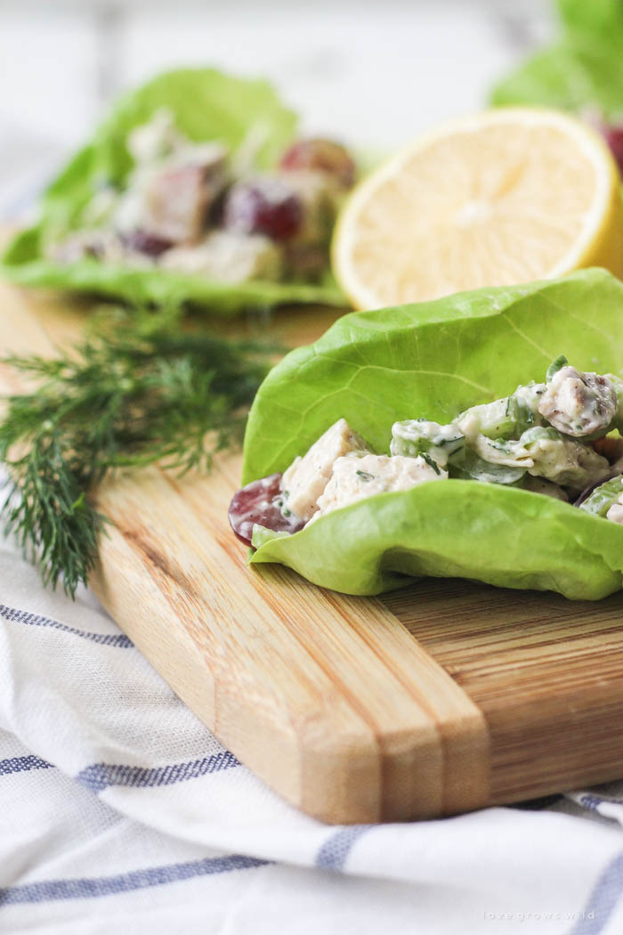 Skip the bread and enjoy this delicious homemade chicken salad wrapped in lettuce! Light, lean and so tasty! | LoveGrowsWild.com