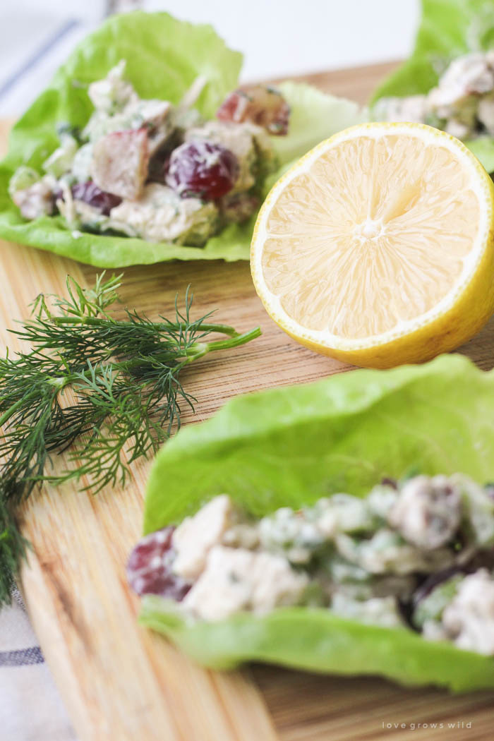 Skip the bread and enjoy this delicious homemade chicken salad wrapped in lettuce! Light, lean and so tasty!   LoveGrowsWild.com