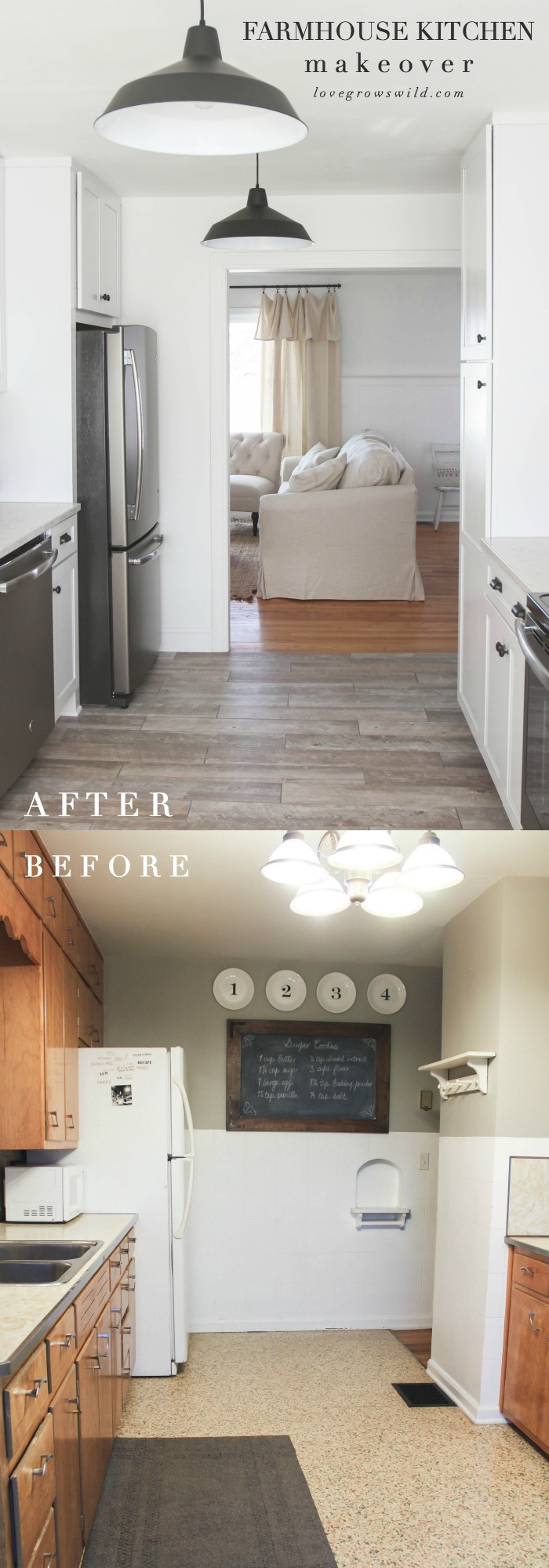 See this gorgeous farmhouse kitchen makeover from start to finish! Find out what it's REALLY like to live through a kitchen renovation! | LoveGrowsWild.com