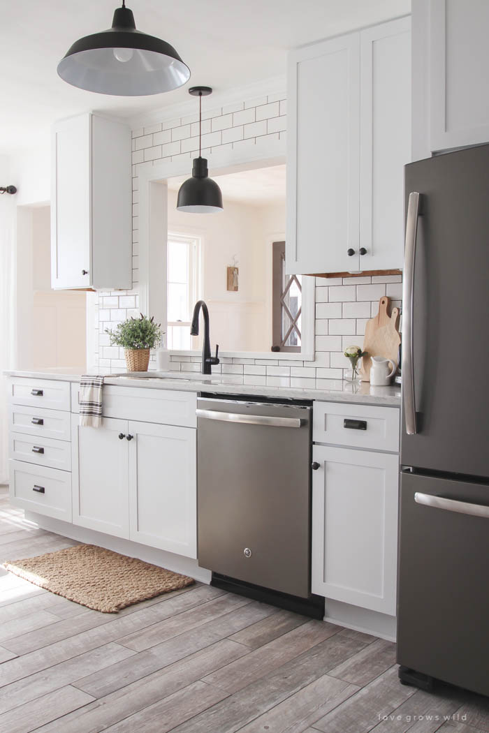 Kitchen Makeover - Cabinets - Grows Wild on grey colored kitchen cabinets, kitchen with gray floors, white kitchen cabinets, kitchen wall color schemes, kitchen backsplashes with grey cabinets,