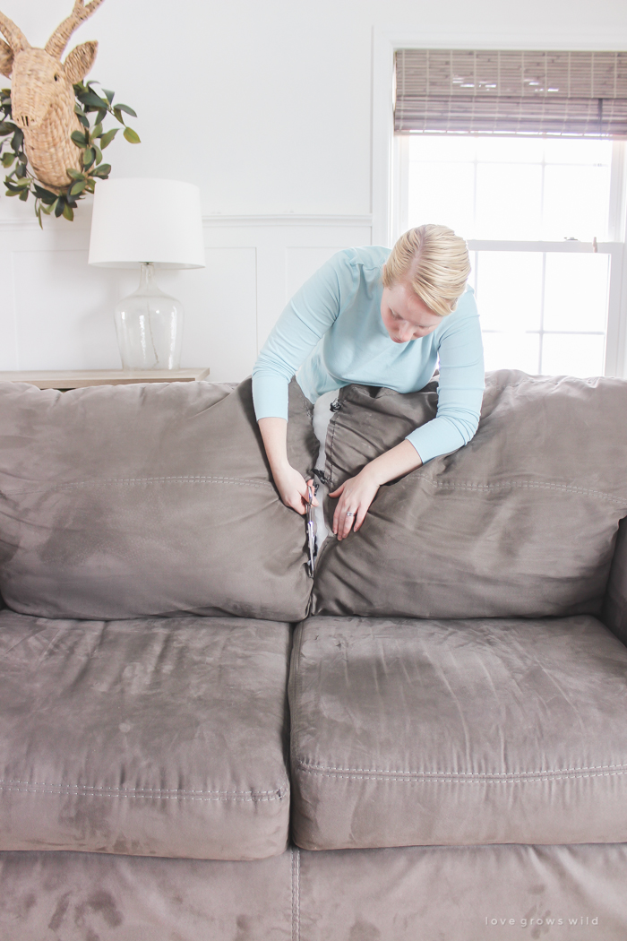 Are Your Sofa Cushions Attached To The Frame See How This Blogger Detached And Separated