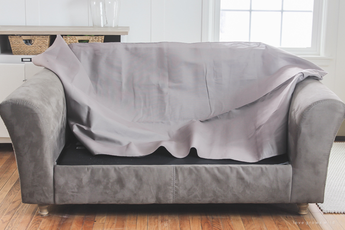 are your sofa cushions attached to the frame see how this blogger detached and separated - Slipcover Sofa