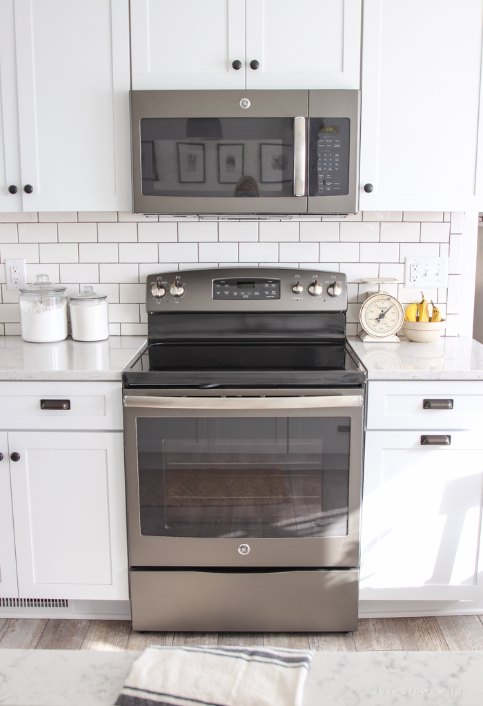Slate Appliances With White Cabinets Cabinets Decorating