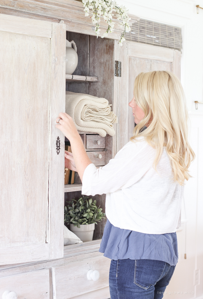 Armoire Makeover Whitewashing Tutorial Love Grows Wild