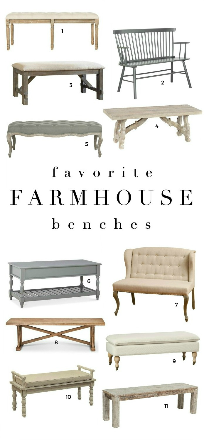 Farmhouse decor inspiration - shop our favorite farmhouse style benches!