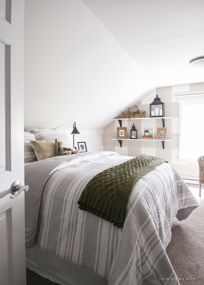 An awkward attic space turns into a charming little boy's farmhouse bedroom!