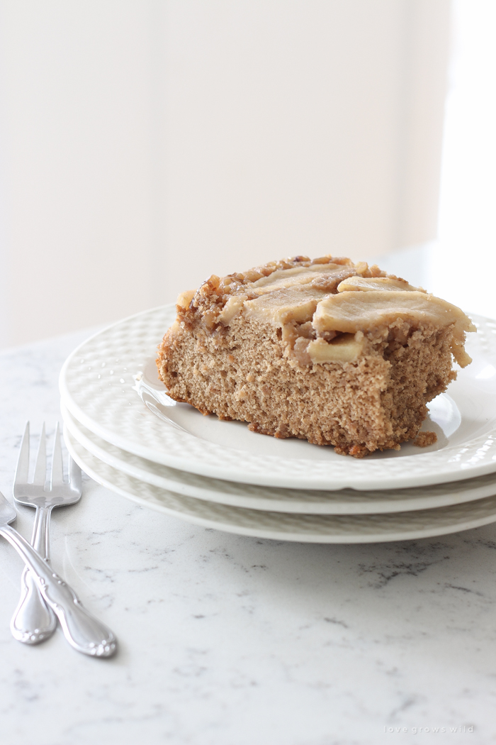 This super easy spice cake topped with delicious buttery brown sugar apples is the perfect fall treat!