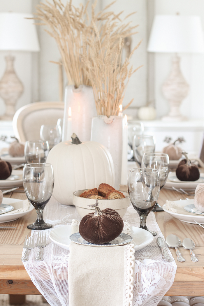 Learn simple fall decorating tips from this beautiful country harvest themed fall tablescape