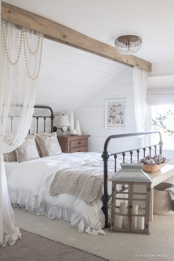 White and Cream Christmas Bedroom - Love Grows Wild