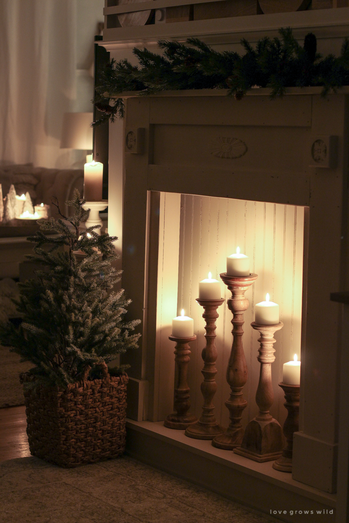 The magic and serenity of Christmas lights at night in this beautiful farmhouse