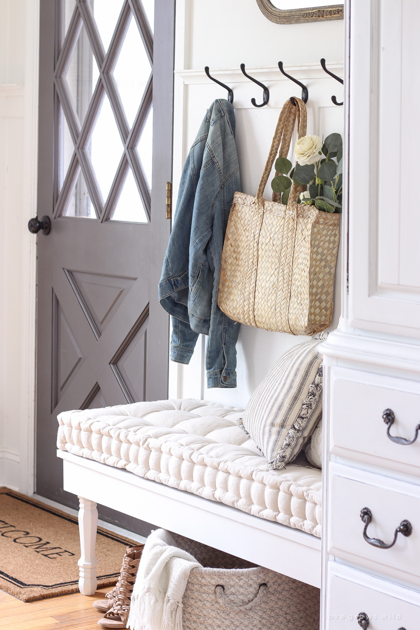 A beautifully bright entryway with a cozy cottage feel
